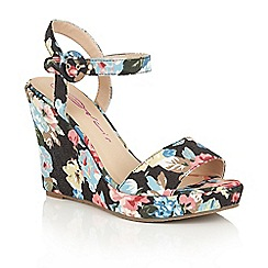 Dolcis - Black 'Veronica' floral wedge sandals