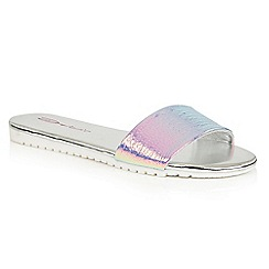 Dolcis - Silver 'Willa' flat cleated beach sandals