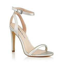 Dolcis - Silver 'Laurie' ankle strap stiletto heeled shoes