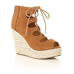 Dolcis - Tan 'Henna' wedged heeled ladies sandals