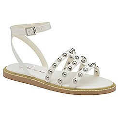 Dolcis - White 'Jemima' ladies flat studded sandals