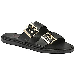 Dolcis - Black 'Joni' ladies slip on buckle detail sandals