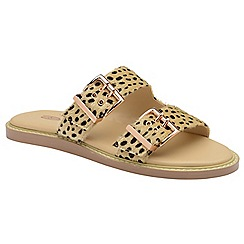 Dolcis - Leopard 'Joni' ladies slip on buckle sandals