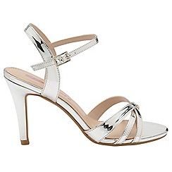 Dolcis - Silver 'Belinda' stiletto heeled open toe sandals