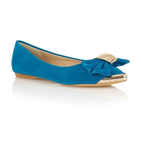 Dolcis - Blue velvet metal point bow ballerinas