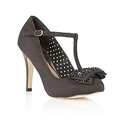 Dolcis - Black velvet t-bar court shoes