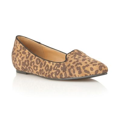 Dolcis Bronze leopard pointed toe ballerinas - . -