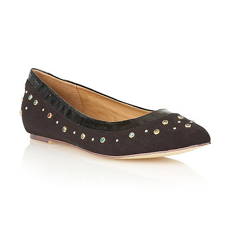 Dolcis - Black pointed toe jewel ballerinas
