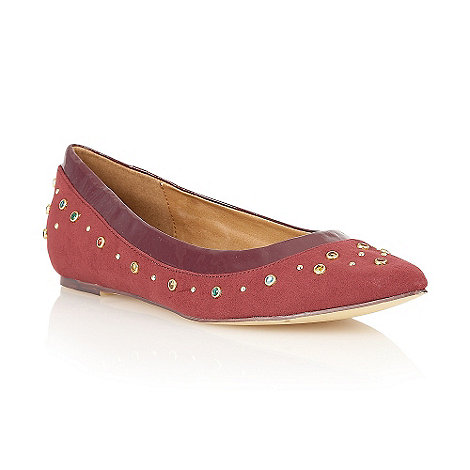 Dolcis - Burgundy pointed toe jewel ballerinas