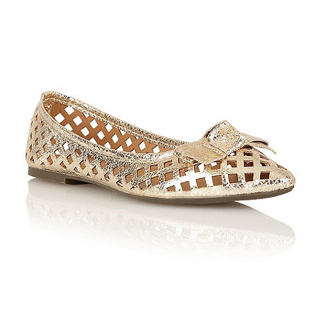 Dolcis - Gold laser cut out bow ballerinas