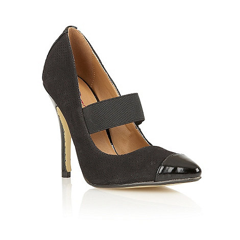 Dolcis - Black elastic strap perforated court shoes