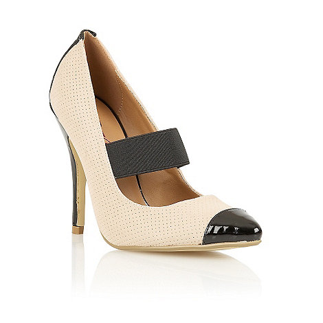 Dolcis - Nude elastic strap perforated court shoes
