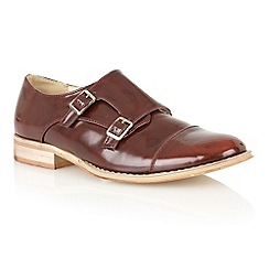 Dolcis - Burgundy burnished 'Paris' monk strap loafers