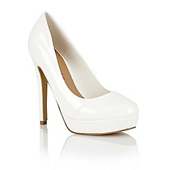 Dolcis - White patent 'Barcelona' ladies court shoes