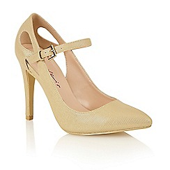 Dolcis - Gold 'Chassie' high heeled court shoes