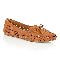 Dolcis - Tan 'Jeri' bow detailed flat loafers