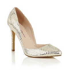 Dolcis - Gold 'Leticia' slip-on stiletto court shoes