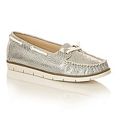 Dolcis - Silver 'Kassidy' lace detailed ladies loafers
