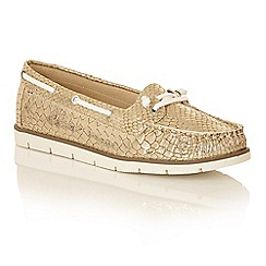 Dolcis - Gold 'Kassidy' lace detailed ladies loafers