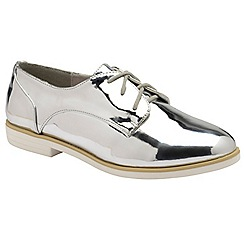 Dolcis - Silver 'Kia' ladies lace up metallic brogues