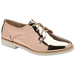 Dolcis - Gold 'Kia' ladies lace up metallic brogues
