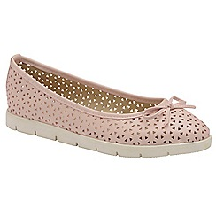 Dolcis - Pink 'Tricia' ladies slip on cut out loafers