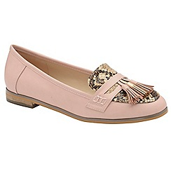 Dolcis - Pink 'Tully' ladies faux suede slip on loafers