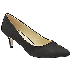 Dolcis - Black 'Maggie' ladies slim heel faux suede pumps