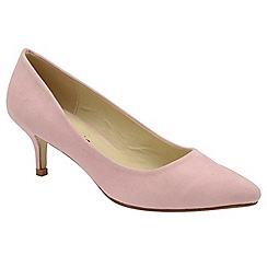 Dolcis - Pink 'Maggie' ladies slim heel faux suede pumps