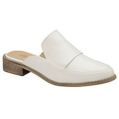 Dolcis - White 'Dunne' ladies slip on comfort fit mules