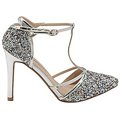 Dolcis - Silver 'Nicola' ladies T-bar stiletto heeled shoes