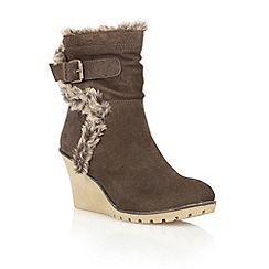 Ravel - Brown 'Alabama' suede wedge ankle boots