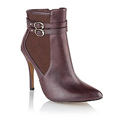 Ravel - Burgundy 'Aurora' ladies stiletto heel ankle boots