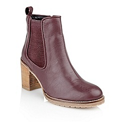 Ravel - Burgundy 'Newark' cleated sole ladies ankle boots