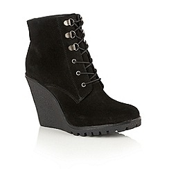 Ravel - Black suede 'Trinity' lace up wedge ankle boots