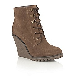 Ravel - Tan suede 'Trinity' lace up wedge ankle boots