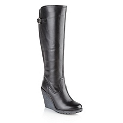 Ravel - Black 'Delta' ladies knee high wedge boots