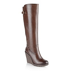 Ravel - Brown 'Delta' ladies knee high wedge boots
