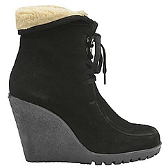 Ravel - Black 'Troy' ladies lace up wedge ankle boots
