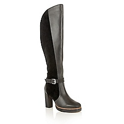 Ravel - Black leather suede 'Rains' over the knee boots