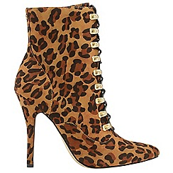 Ravel - Leopard 'Akron' ladies stiletto heeled ankle boots