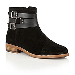 Ravel - Black suede/black leather 'Roseburg' ankle boots
