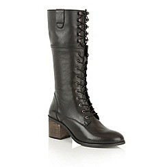 Ravel - Black cow milled leather 'Sutton' knee high boots