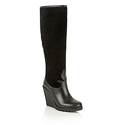 Ravel - Black leather/suede 'Gaines' wedge knee high boots