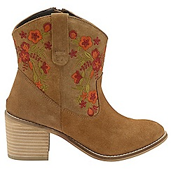 Ravel - Tan 'Turner' ladies heeled cowboy ankle boots