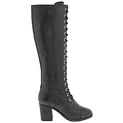 Ravel - Black 'Winslow' ladies knee high lace up boots