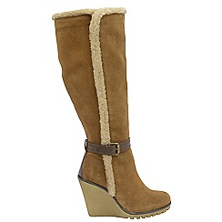 Ravel - Chestnut 'Evergreen' ladies knee high wedge boots