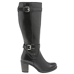 Ravel - Black 'Dothan' ladies knee high buckle boots