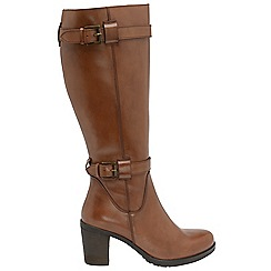 Ravel - Tan 'Dothan' ladies knee high buckle boots