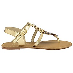 Ravel - Gold 'Richman' ladies ankle strap sandals